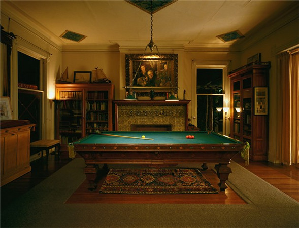 Billiard room in the Black Point Estate Mansion.