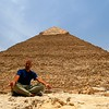 Meditating at the Pyramids of Giza, Egypt