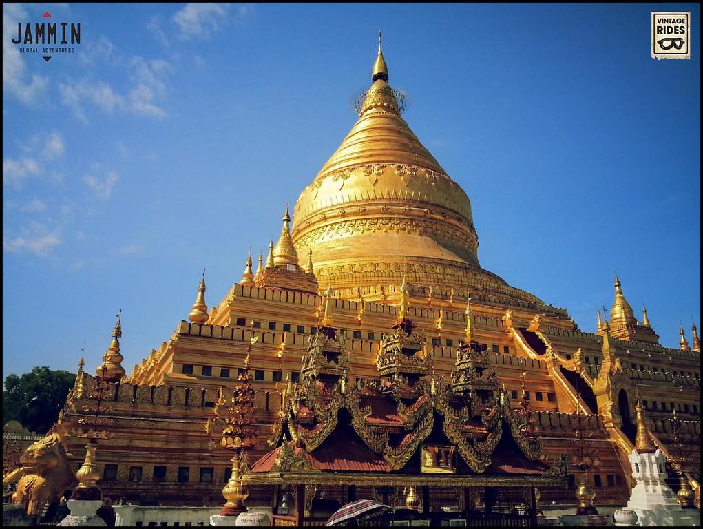 A modern golf-lead covered pagoda in Bagan.