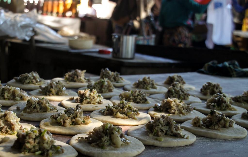 Dumplings being prepared at Inle Lake.