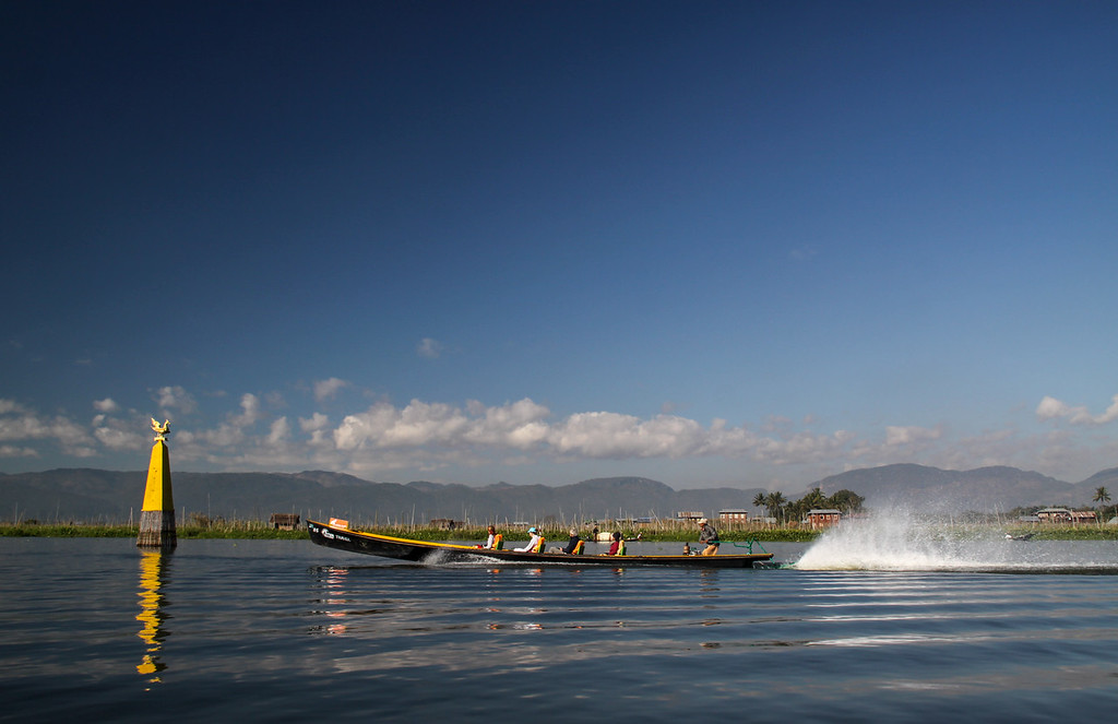 Long boats on Inle Lake where the locals have created a thriving economy whilst living on the lake.