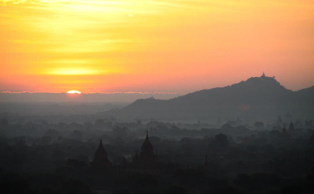 The pagodas of Bagan at sunset.