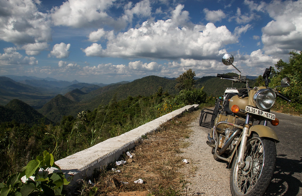 Riding the mountains of Myanmar.