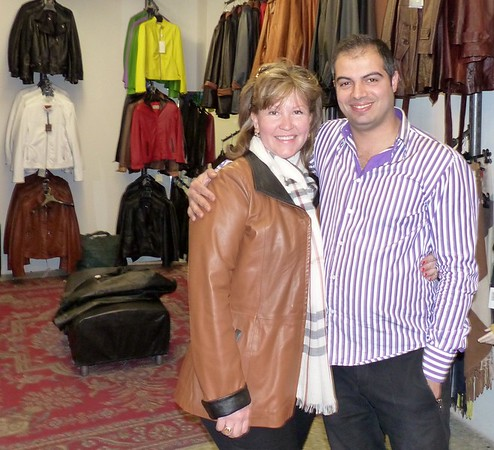At Sabani's with Marco and my new leather jacket