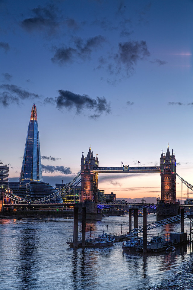 The Shard, City Hall and Tower Bridge at Sunset
