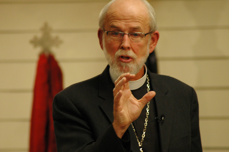 An animated and engaged Bishop Hanson.