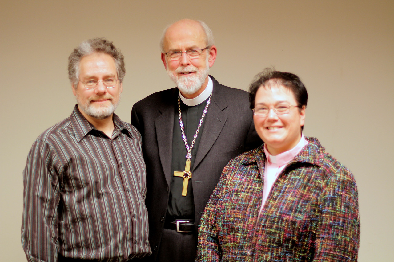 Bob and Laura Schordje with Bishop Hanson.