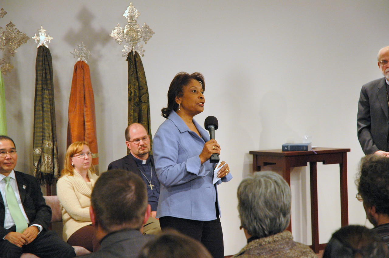 The Rev. Dr. Marion Wyvetta Bullock, Executive for Administration, ELCA Office of the Presiding Bishop and host for the November 21, 2010 Town Hall Forum, greets the online and Lutheran Center audiences.