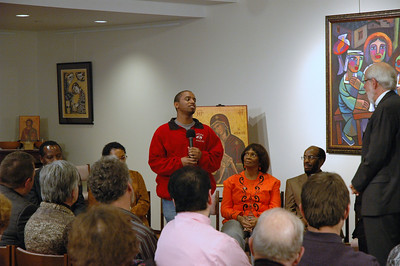 Emerson Murphy, member of Reformation Lutheran Church, Chicago, and student at ELCA's Carthage College, asks ELCA Presiding Bishop Mark S. Hanson a question during the November 20, 2010 Online Town Hall Forum.