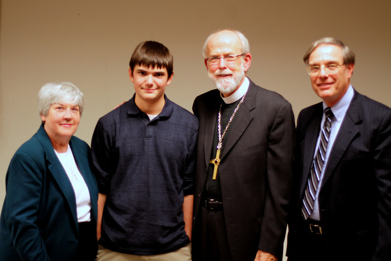 Marilyn Timm, Drake Zuschlag, Bishop Hanson and Roger Timm at the November 21 Town Hall Forum.