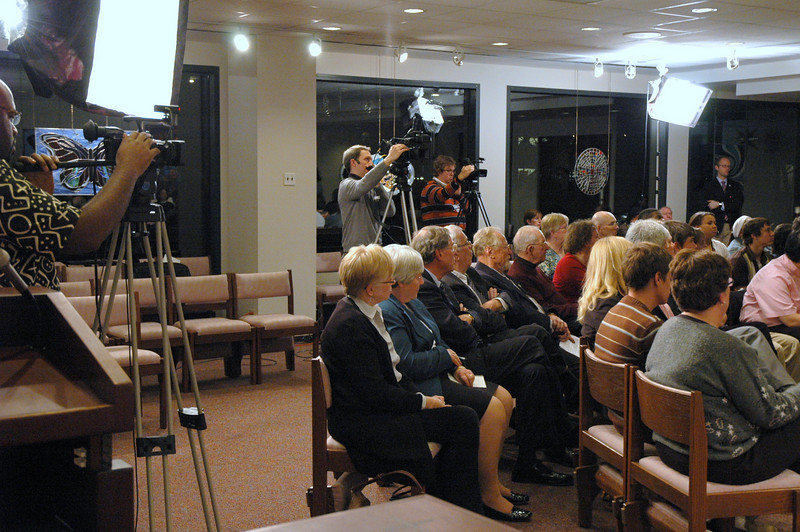 The Chicago Lutheran Center audience during the November 21, 2010 ELCA Online Town Hall Forum with Presiding Bishop Mark S. Hanson.  Three cameras helped to capture the forum for the viewing audience.  Camera operators were (left to right), Ronnie Hunter, ELCA Information Technology, Josh Ginter, Seaworthy Media, and David Scott, ELCA Web Developer.
