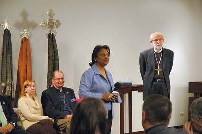 Waiting for her cue, The Rev. Dr. Marion Wyvetta Bullock, Executive for Administration, ELCA Office of the Presiding Bishop served as host for the November 21, 2010 Online Town Hall Forum.