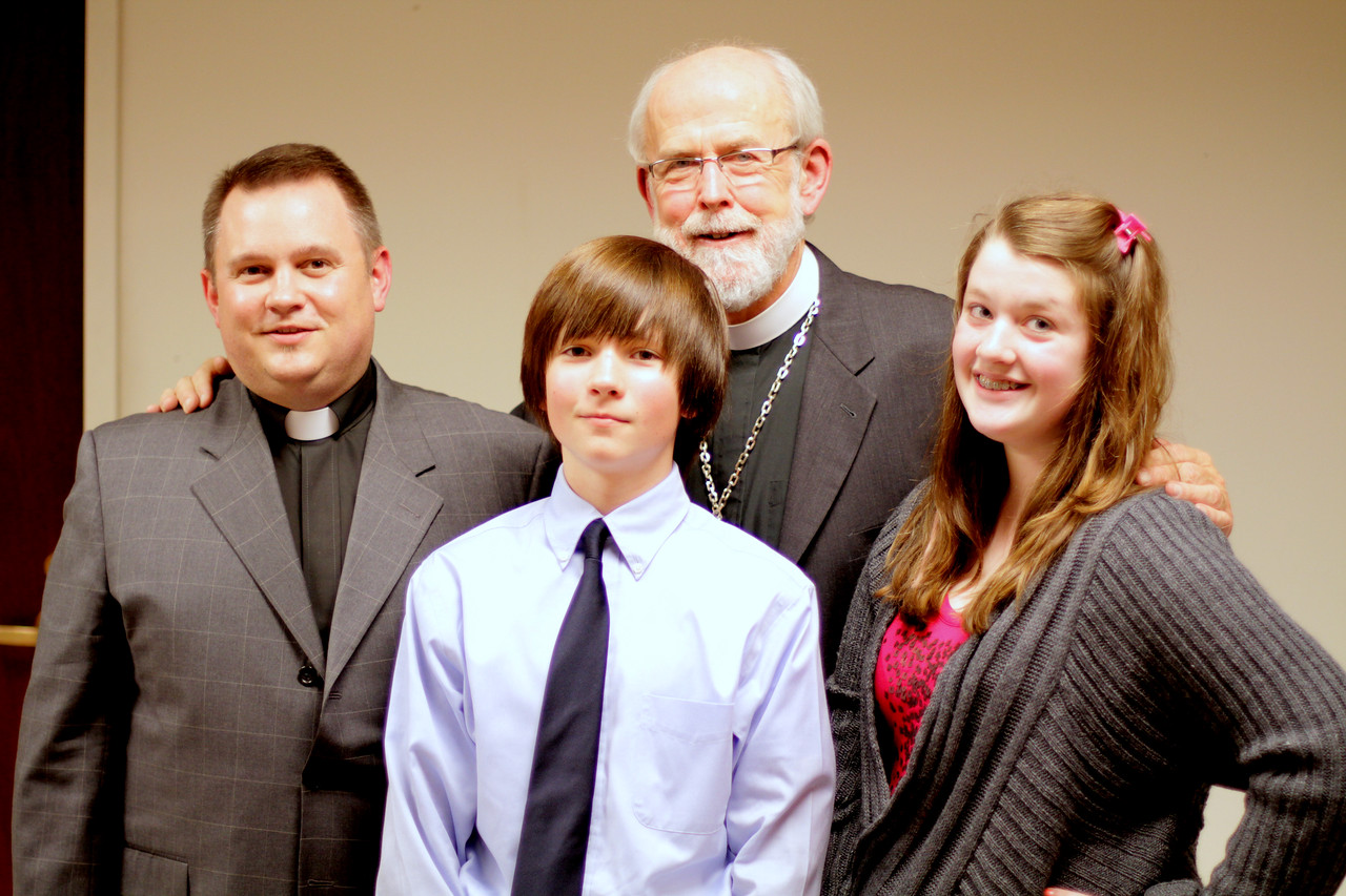 The Bergren's with Bishop Hanson.