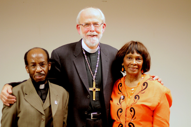 Rev. Joseph M. Bocko and a member of Reformation Evangelical Lutheran Church with Bishop Hanson.
