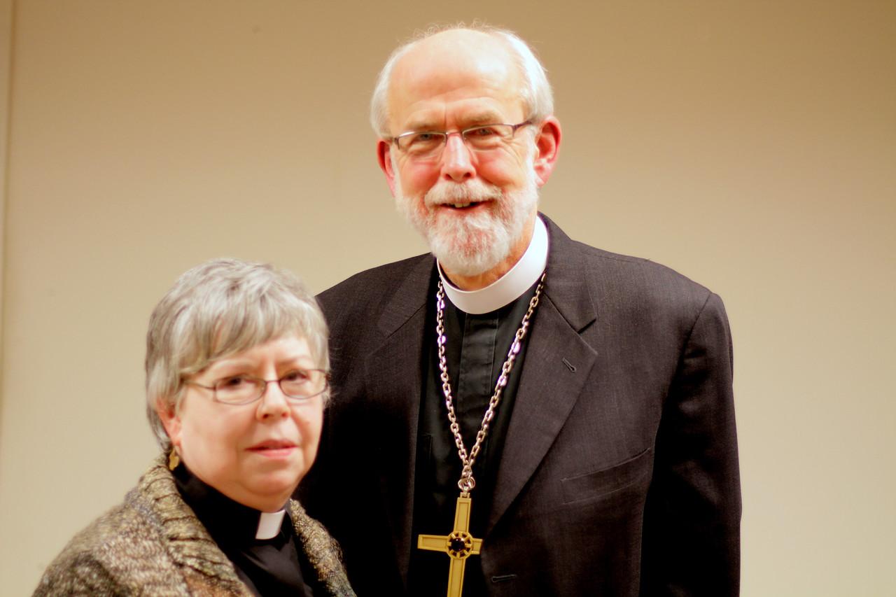 The Rev Marguerite F. Rourke, Oak Park, Illinois with ELCA Presiding Bishop Mark S. Hanson.   November 21, 2010 Online Town Hall Forum.