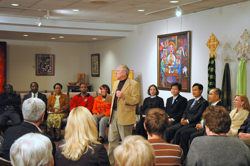 The Rev. Howie E. Wennes greets the Lutheran Center audience before the November 21, 2010 Online Town Hall Forum with ELCA Presiding Bishop Mark S. Hanson.  Pastor Wennes is serving as interim Executive Director of the new Mission Advancement unit at the ELCA churchwide office.