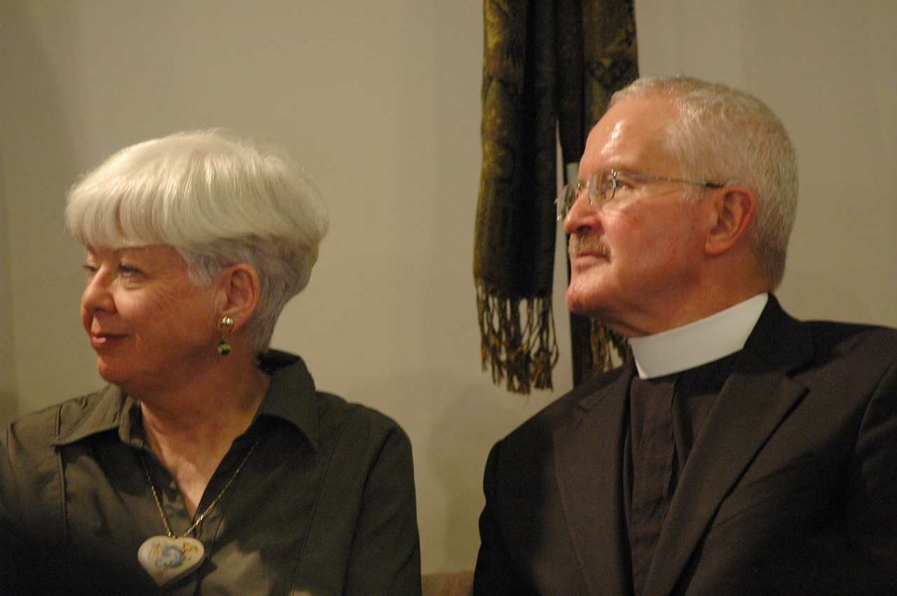 Carol and the Rev. David Langseth listen to Bishop Hanson respond to a question submitted by an online audience member.