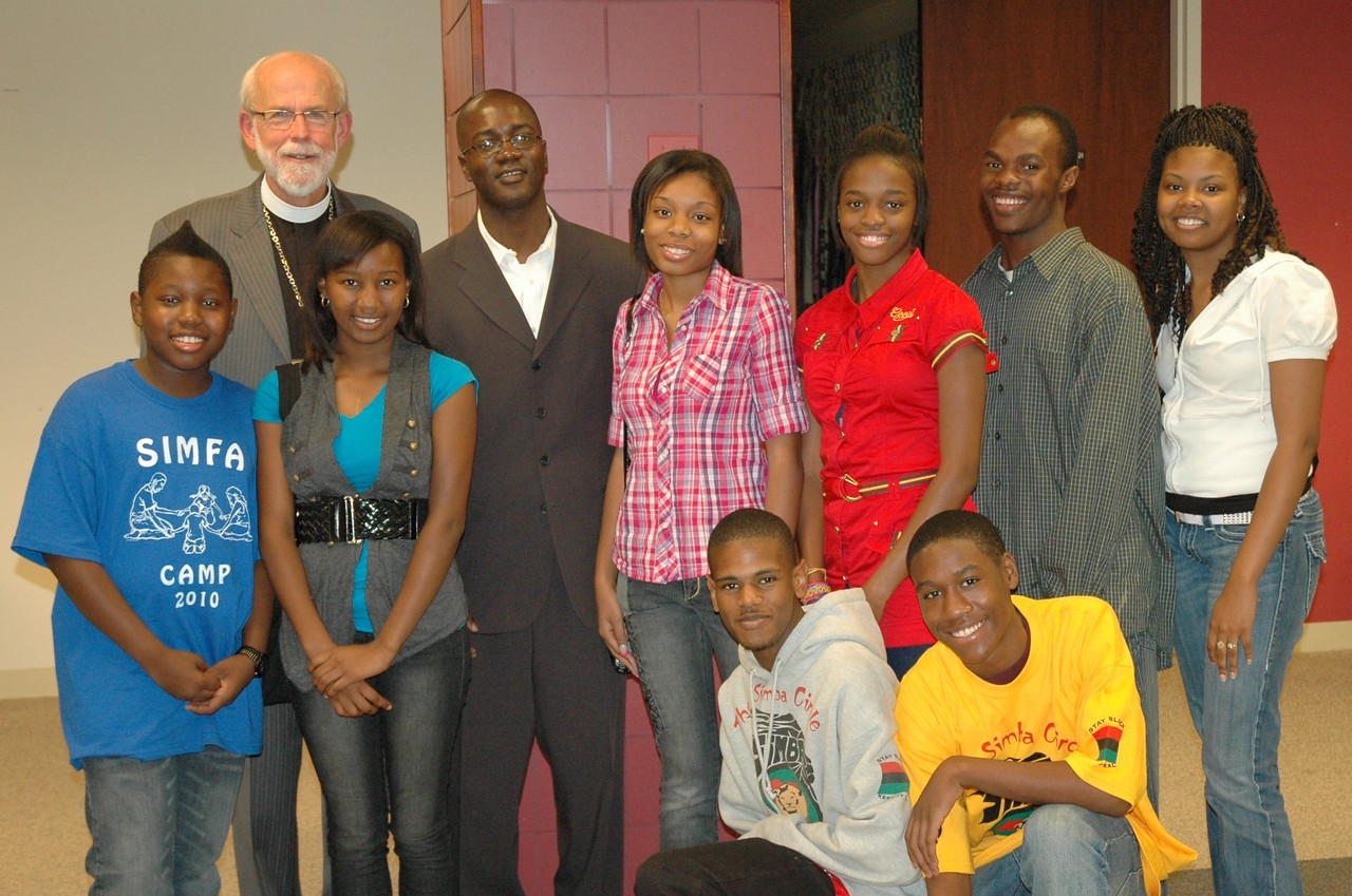 The Rev. Mark S. Hanson with the Rev. Yeheil Curry and members of the SIMBA, SIMSA and SIMFA mentoring groups.