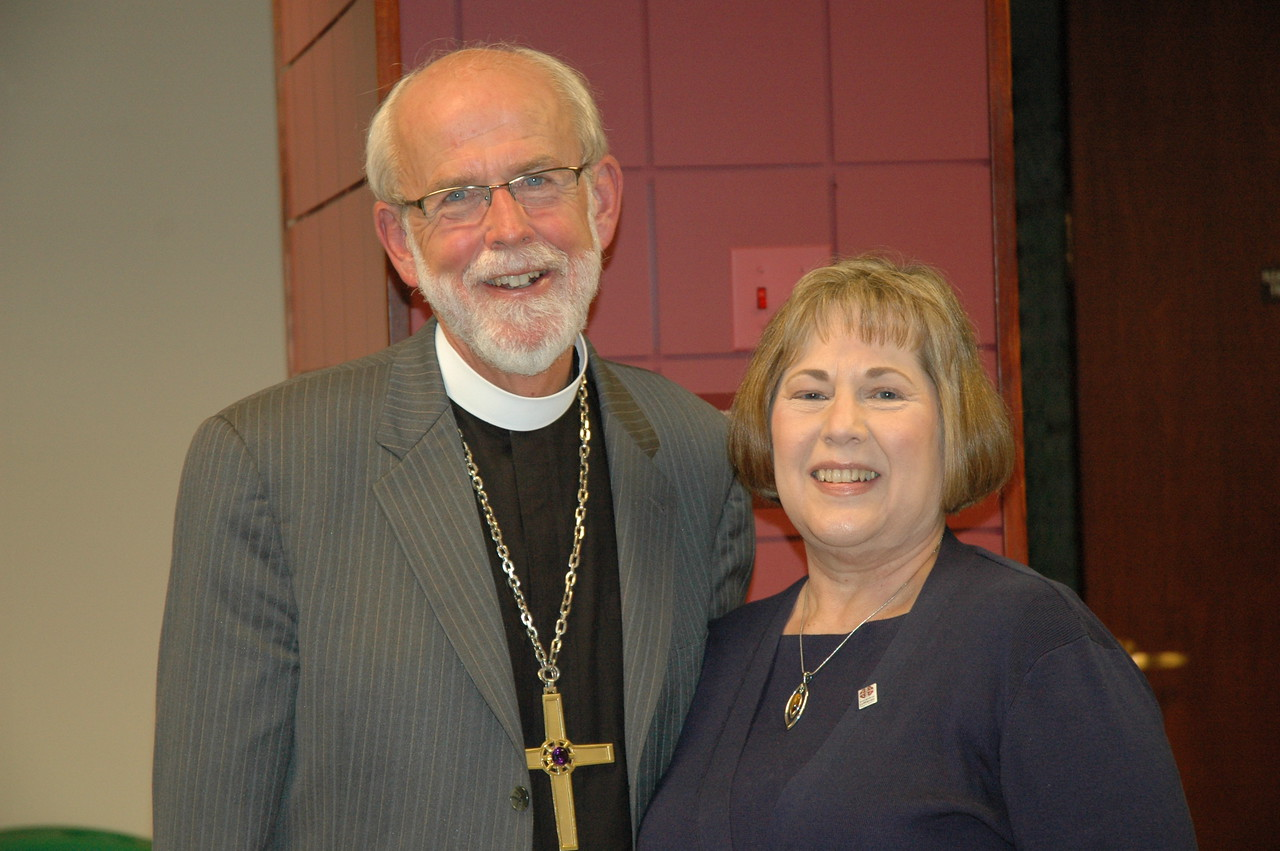 Presiding Bishop Mark S. Hanson with Grace Jorgenson