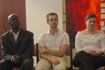 From the left, the Rev. Yehiel Curry, the Rev. Alex Raabe and the Rev. Sarah Harrold listen intently to Bishop Hanson.