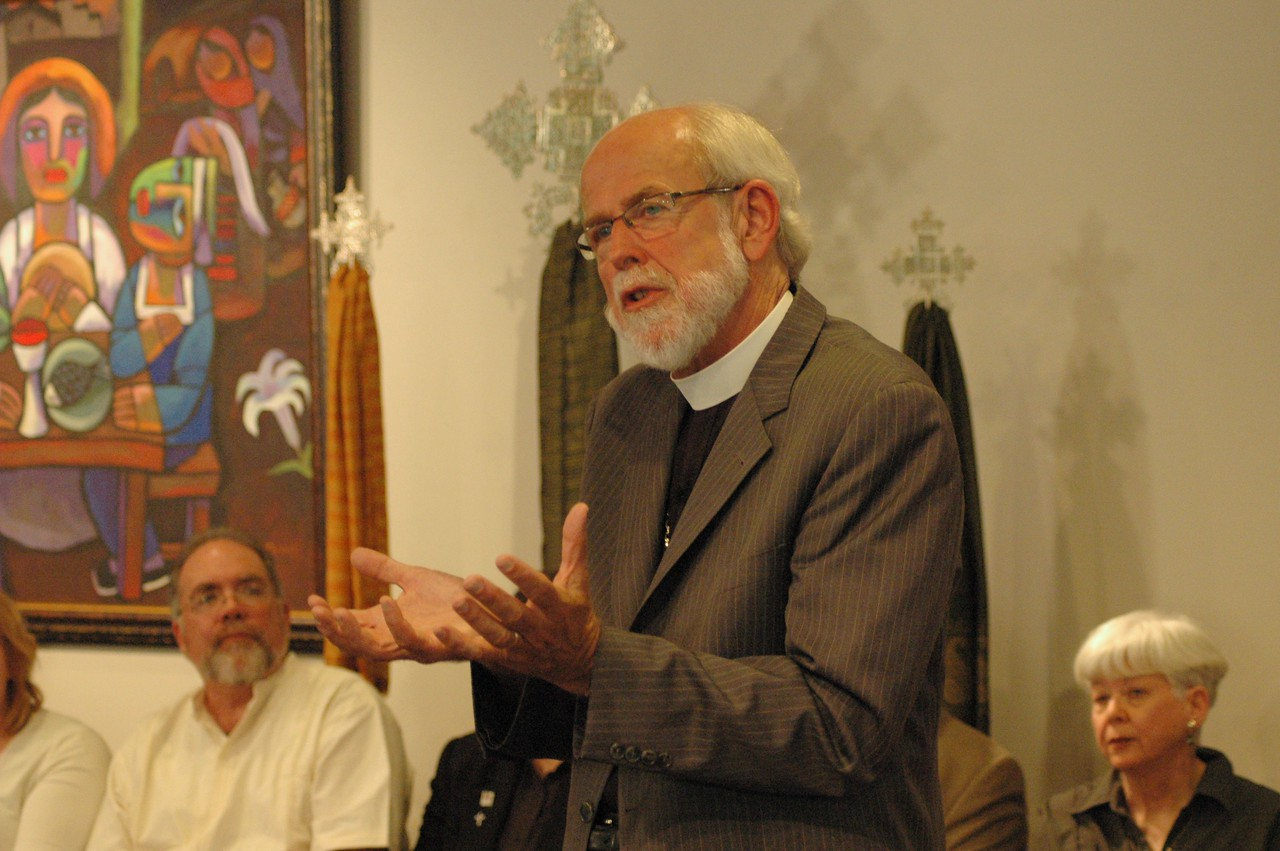 Presiding Bishop Mark S. Hanson expands on a point.