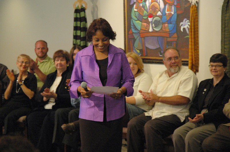The Rev. Dr. Wyvetta Bullock, Executive for Administration, Office of the Presiding Bishop, reads a question submitted by an online audience member.