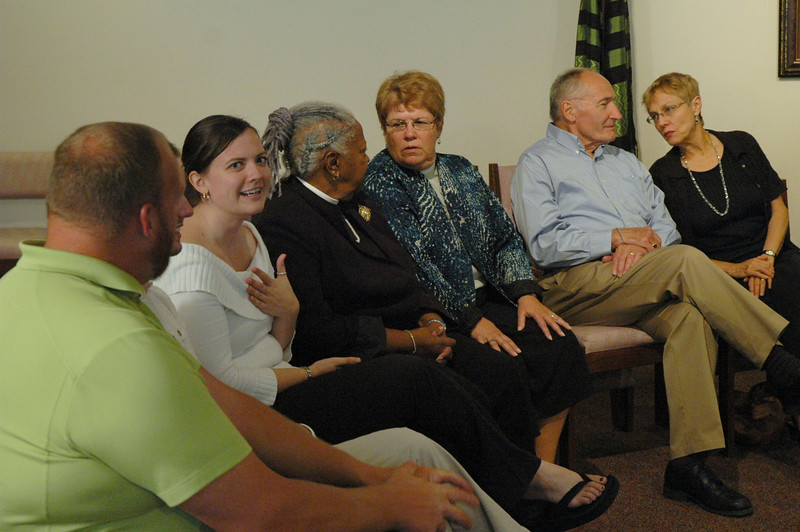 ELCA members at the September 19, 2010, ELCA Town Hall Forum, chat before the event begins.