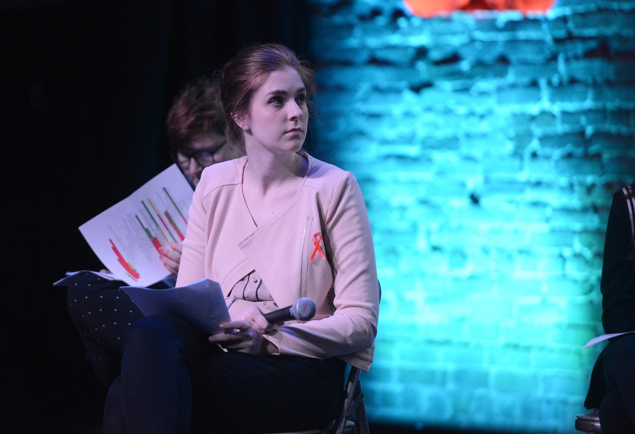 Kailyn Erb listens to the panel during the Town Hall for our Lives event, April 7, 2018, in Chico, California. (Carin Dorghalli -- Enterprise-Record)