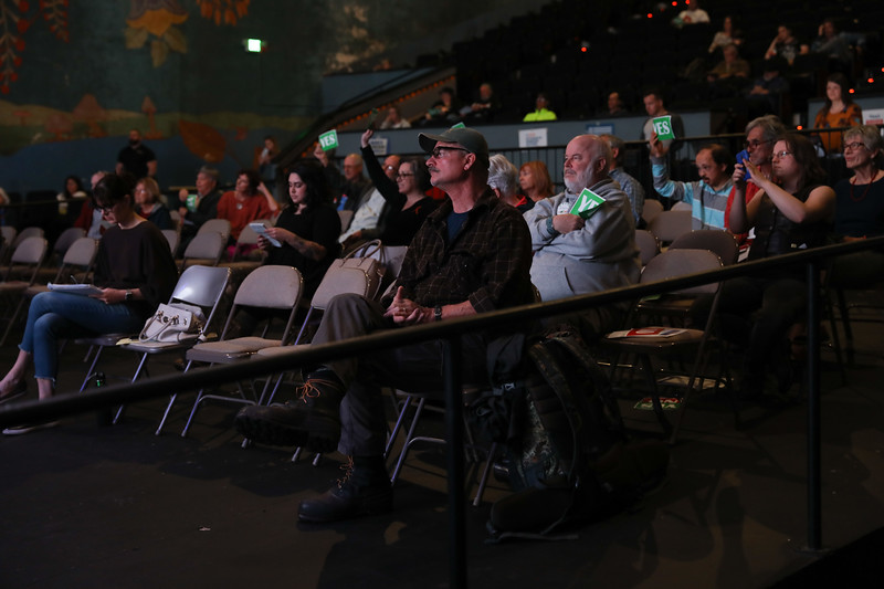 The crowd participates during the Town Hall for our Lives meeting, April 7, 2018, in Chico, California. (Carin Dorghalli -- Enterprise-Record)