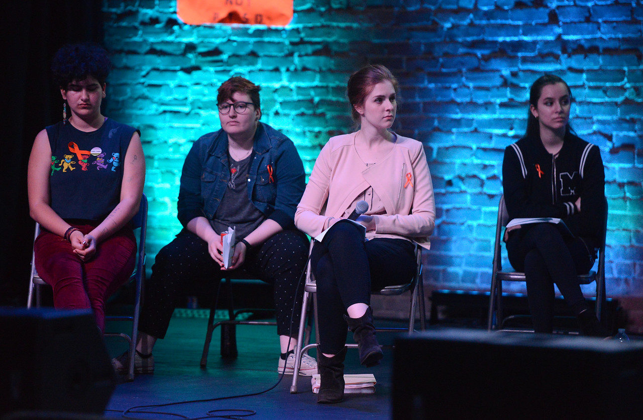 Evan Kerr, Makayla Sharkey, Kailyn Erb and Jordan Michelena listen to the panel during the Town Hall for our Lives event, April 7, 2018, in Chico, California. (Carin Dorghalli -- Enterprise-Record)