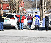 HOLLY PELCZYNSKI - BENNINGTON BANNER Jim Vincent, Melanie Dexter, Josiah Durfee, and Robin Vincent greet voters as they head to the polls on Tuesday at the Shaftsbury voting polls.