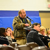 KRISTOPHER RADDER - BRATTLEBORO REFORMER<br /> Ralph Staib, of Wilmington, Vt., expresses an objection about an article to fund the construction of Look Bridge during Town Meeting Day on March 7, 2017.