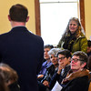 KRISTOPHER RADDER - BRATTLEBORO REFORMER<br /> Susan Gunther-Mohr questions Alexander Beck, from Southern Vermont Economic Development Strategies, about the benefits of funding his organization during a town meeting at Williamsville Town Hall during Town Meeting Day on March 7, 2017.