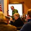 KRISTOPHER RADDER - BRATTLEBORO REFORMER<br /> Kathleen Hege talks about the cost of hiring a town manager for Townshend, Vt., during Town Meeting Day on March 7, 2017.