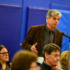 KRISTOPHER RADDER - BRATTLEBORO REFORMER<br /> Joseph Cincotta, of Wilmington, Vt., asks if money could be taken from other parts of the budget to fund the construction of Look Bridge during Town Meeting Day on March 7, 2017.
