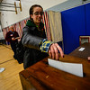 KRISTOPHER RADDER - BRATTLEBORO REFORMER<br /> Phoebe Green, of Dummerston, Vt., casts her ballot at Dummerston School polling station during Town Meeting Day on March 7, 2017.