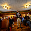 KRISTOPHER RADDER - BRATTLEBORO REFORMER<br /> Alexander Beck, from Southern Vermont Economic Development Strategies, talks to the crowd at the Williamsville Town Hall, asking for funding to his program during Town Meeting Day on March 7, 2017.