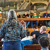 KRISTOPHER RADDER - BRATTLEBORO REFORMER<br /> Laura Richardson, of Townshend, address the article dealing with a town manager during Town Meeting Day in Townshend on Tuesday, March 6, 2018.