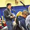 KRISTOPHER RADDER - BRATTLEBORO REFORMER<br /> Cliff Duncan, of Wilmington, asks questions over various parts of the Wilmington Budget during Town Meeting at Twin Valley Elementary on Tuesday, March 6, 2018.