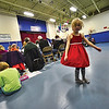 KRISTOPHER RADDER - BRATTLEBORO REFORMER<br /> Madeline Staloff, 6, spins around while attending the Town Meeting at Twin Valley Elementary, in Wilmington, on Tuesday, March 6, 2018.