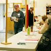 HOLLY PELCZYNSKI - BENNINGTON BANNER Joe Coonradt, of Shaftsbury takes a look at his ballot before voting on town meeting day in Shaftsbury.