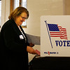 HOLLY PELCZYNSKI - BENNINGTON BANNER Mary Frost, of Shaftsbury turns in her voting Ballot on Tuesday March 6th Town meeting day in Shaftsbury.