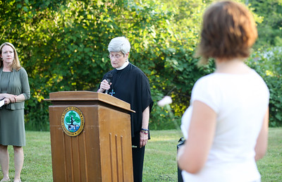 The Rev. Linda Spiers, rector of Trinity Episcopal in Collinsville speaks at the Vigil.  Photo by John Fitts