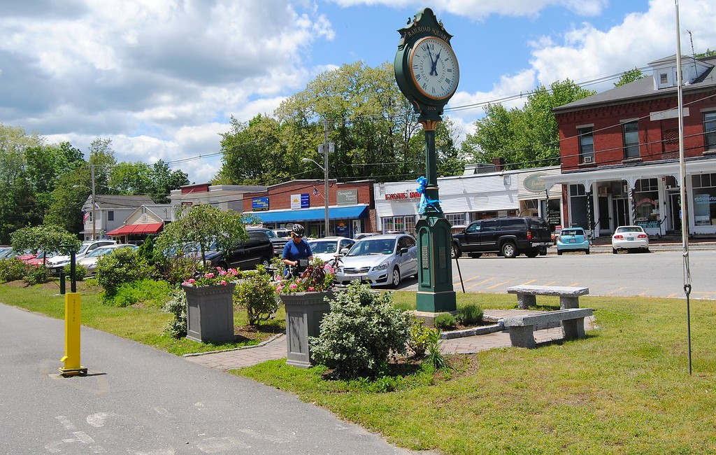 . NASHOBA VALLEY VOICE/ANNE O\'CONNOR When town officials think about how to attract and retain millennials, a vibrant street scene, affordable work space, transportation and recreation come to mind. Railroad Square in Pepperell has shops and a popular rail trail.