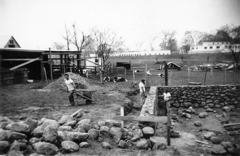1952 200 Retaining wall construction, left side of station