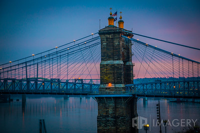 Aerial - John Roebling Bridge - Side at Twilight