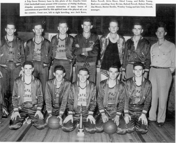 Alapaha Lions Club basketball team in the 1950s. Played all over the country. Played the Harlem Globe Trotters. G011