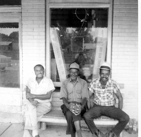 Sitting out in front of the E. D. Gaskins Store. l-r M.B. Smith, Tom Smith,Willie Cohen.