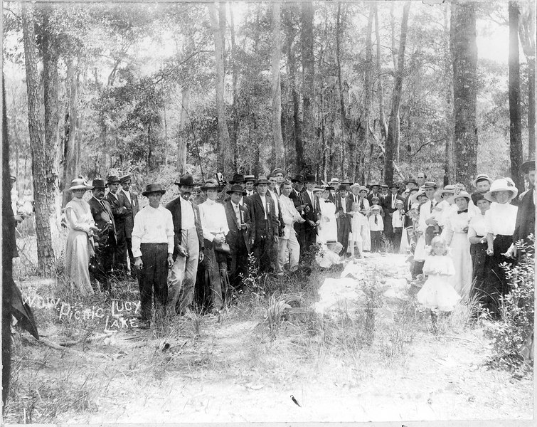 Woodmen of the World picnic at Lucy Lake on Alapaha River, north of Alapaha on U.S. 129