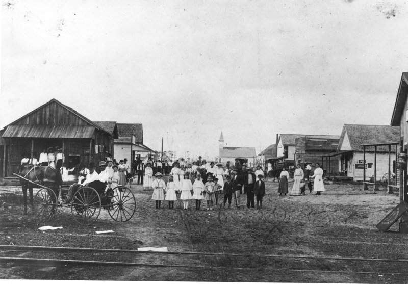 Enigma main street looking north from railroad tracks about 1900